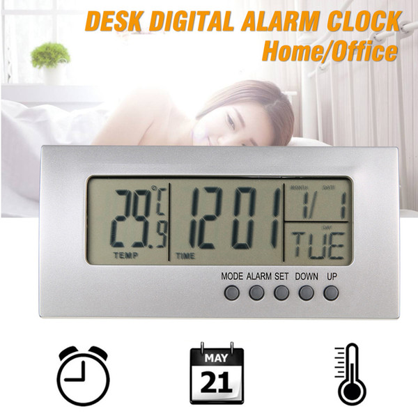 Digital Wecker LCD Display Kalender Snooze Wecker Desktop Digital Tischuhren für Kinder