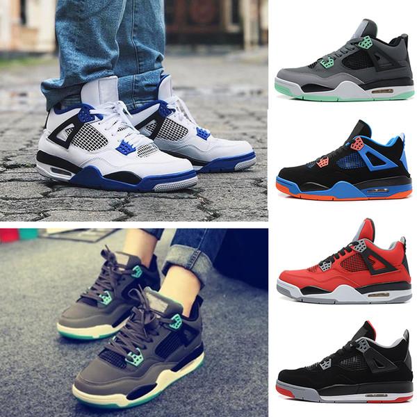 Großhandel NIKE Air Jordan 4 Retro Hohe Qualität 4 4 S Weiß Zement Reines Geld Basketball Schuhe Männer Frauen Gezüchtet Königsspiel Royal Sport