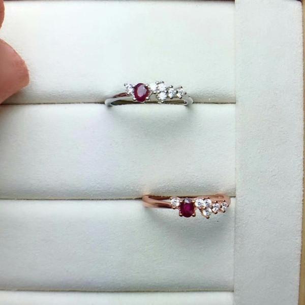 shilovem de ley 925 mujeres joyería fina natural de color rojo anillos de rubí anillos de matrimonio Étnicas de moda abierta 3 * 4mm cj030401agh