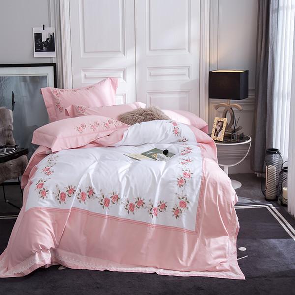 80S Egyptian cotton beautiful rose frame luxury embroidery duvet cover flat sheet pillowcase set, 4PCS bedding sets pink white
