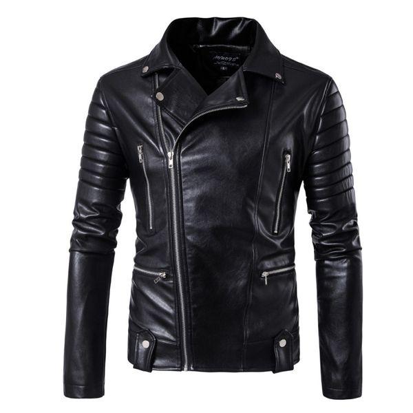AmberHeard Erkekler Pu Deri Ceket 2018 Sonbahar Motosiklet Deri Ceket Birden Fermuar Tasarım Mens Palto Jaqueta Masculina M-5XL