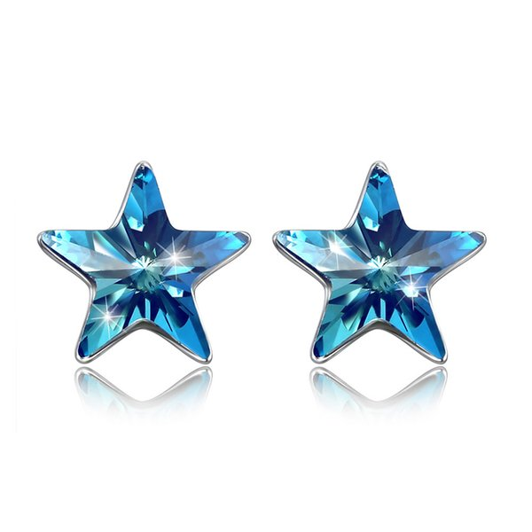 New Arrival 925 sterling silver stud luxury Royal blue star Austria crystal earrings fine DIY Jewelry for women gifts free delivery SVE311