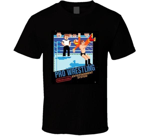 Pro Wrestling NES BOX Art T Shirt 100% Cotton Short Sleeve Summer T-Shirt 2018 New Arrival Men Casual Printed Tee