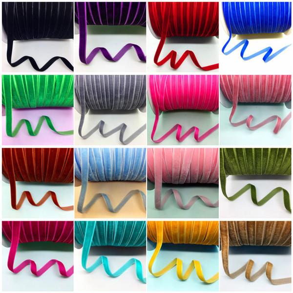 "top popular 50Yards 3 8""(10mm) Velvet Ribbon Wedding Party Decoration Handmade Ribbon Gift Wrapping Hair Bows DIY Christmas Ribbon 2021"