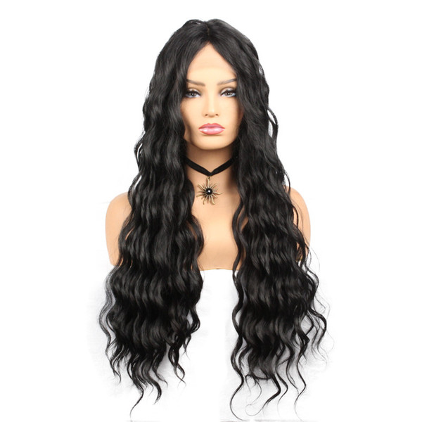 Fashion &Hot Long Lace Front Wigs Water Wave Synthetic Wigs for Women Black Color High Temperature Fiber Wigs