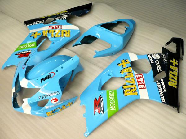 Free custom faring kit for SUZUKI GSXR600 GSXR750 04 05 K4 aftermarket GSX-R600/750 2004 2005 blue black fairings set RT56