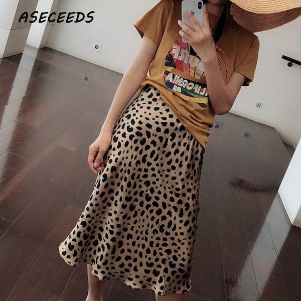 Verano 2018 kawaii boho bodycon estampado leopardo faldas de cintura alta para mujer falda leopardo midi estilo punk streetwear estilo coreano