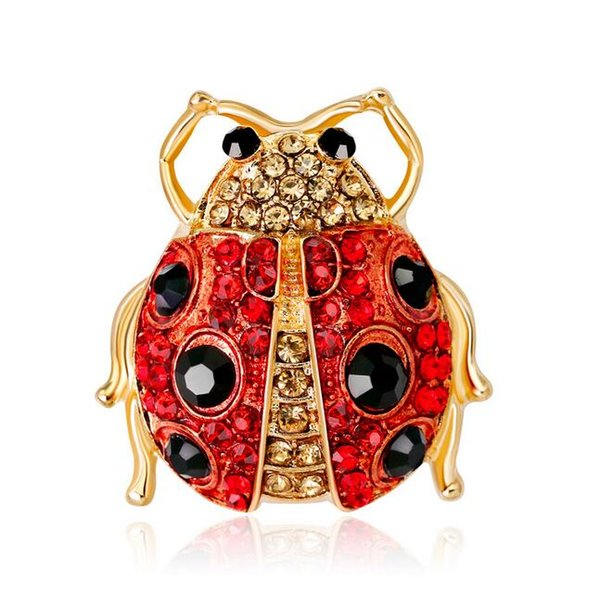 Delicate Insect Ladybird Brooch Corsage Shiny Crystal Rhinestone Collar Pins Broach Women Girl Wedding Party Jewelry Costume Accessories