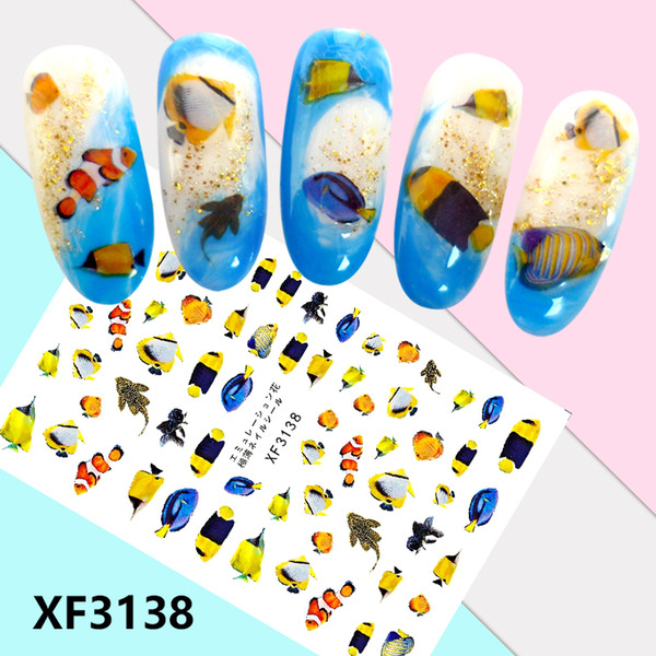 Newest full decal XF3121-3143 3d nail sticker fake nail each model need over 5pcs