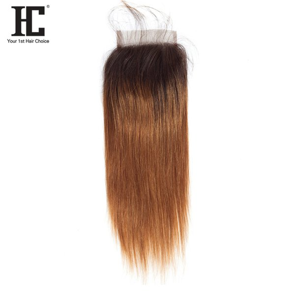 HC Hair Straight Ombre Closure 1B/30 Two Tone 8A Grade Hair Weave 4x4 Lace Free Part Closure Medium Brown Lace