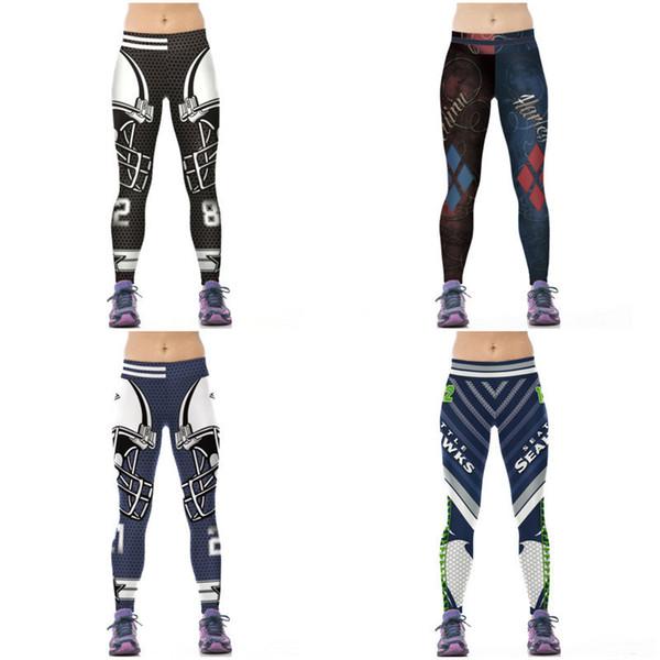 Yoga Pants Women 2017 High Waist Quick Dry Mesh Print Hot Sale Running Sport Leggings Female Fitness Rugby Pattern Close-fitting