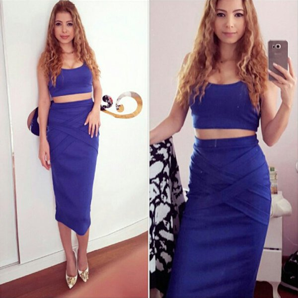 Summer Dress 2018 Slim Blue Sexy Cross Black Bodycon Dress White Two Piece Set Women Evening Party Dresses for Ladies Vestido De Festa