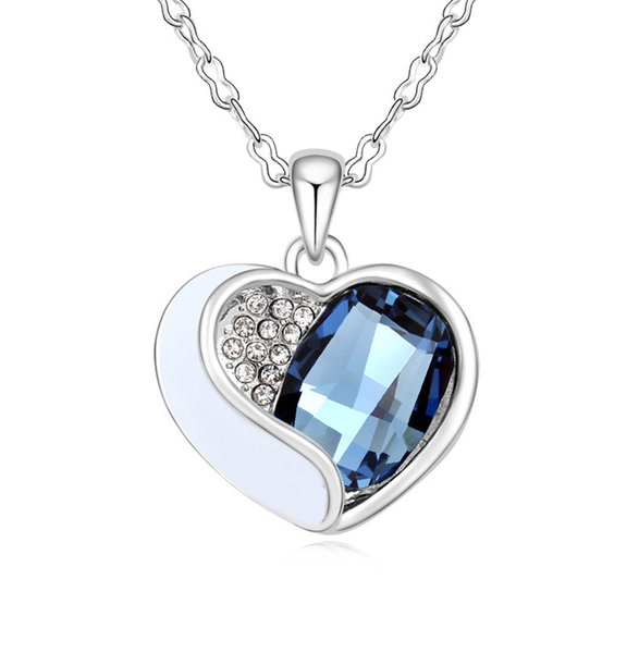 geometric stitching heart pendant necklace Made with Swarovski Elements for women fashion crystal jewelry girl gift 2018