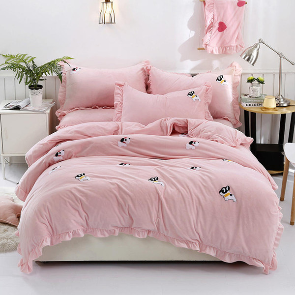 Yellow Grey Pink Bedding Set fleece warm Bed sheet Queen King size Bed set Duvet cover Fitted sheet parrure de lit ropa de cama