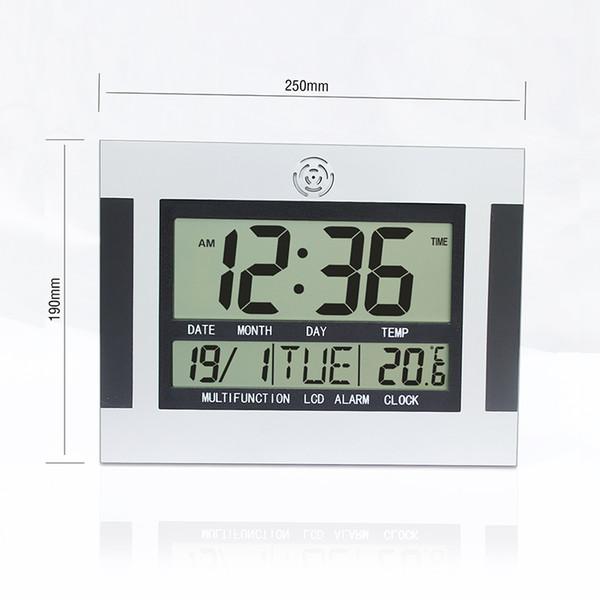 Wanduhr Tischuhr Nixie Elektronische Schreibtisch-Kopf große Zahl Große LCD-Digital-Wecker mit Snooze Temperatur Kalender