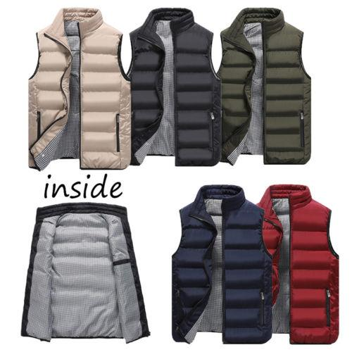 2019 Winter New Waistcoat Mens Quilted Vest Zip Body Warmer Warm Sleeveless Padded Jacket Coat Outwear Plus Size L-4XL