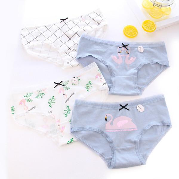 Women New fashion printing Bow panties Mid-rise cartoon Flamingo cotton briefs Breathable casual cute swan lady underwear