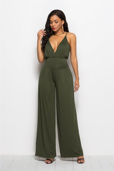 JIZHENGHOUSE Wholesales Hot Selling Women Sexy Deep V-neck Spaghetti Strap Wide Leg Casual Autumn Jumpsuit Overalls