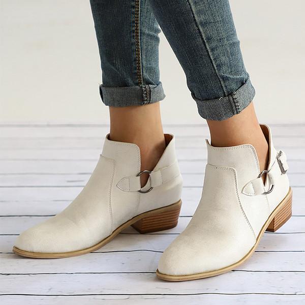 Outono Feminino Ankle Boots Mulher Sapatos de Salto Baixo Fivela Tamanco Calcanhares Plus Size Deslizamento Casual Em Bota Curta Calçados De Costura