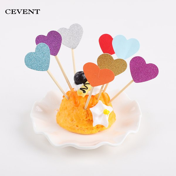 10pcs/set Heart-shaped Cake Toppers Party Cupcake Decoration Cake Inserts Card Party Gifts for Kids Birthday Wedding Decor