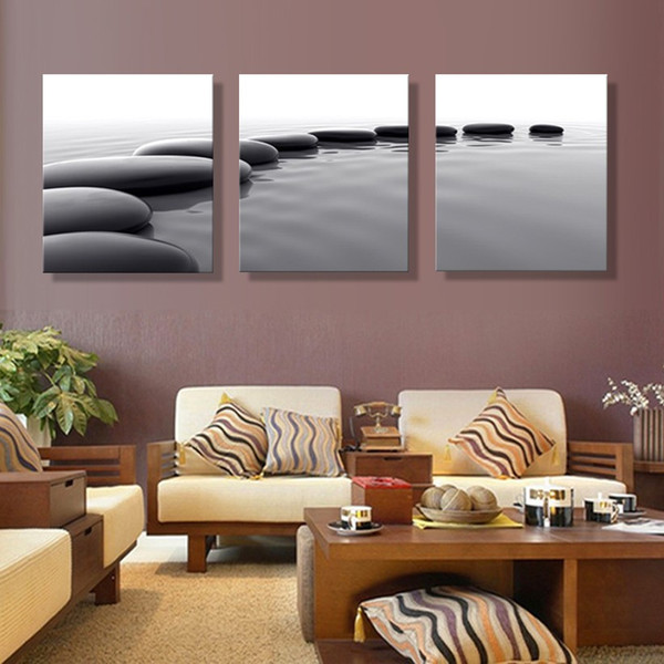 2019 Home Decoration Living Room Wall Picture Pebbles Definition Canvas  Modular Painting Print Cuadros The Stone Stands On The Water From  Onlybrand, ...