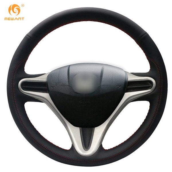 MEWANT Black Leather Steering Wheel Cover for Honda Fit 2009-2013 City Jazz