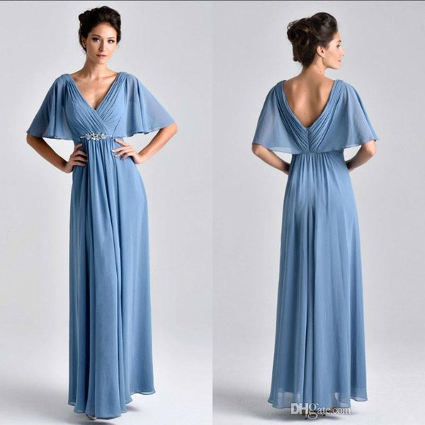 New Half Sleeves V Neck Mother of the Bride Dresses with Sash Ruched Chiffon Long Evening Party Gowns