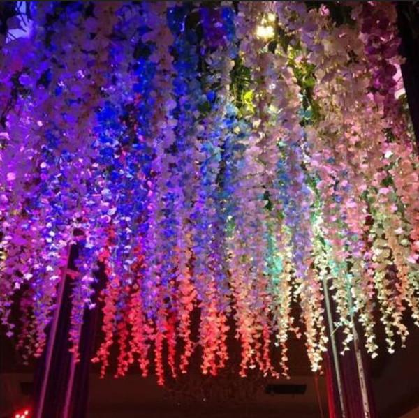 Rattan Streifen Wisteria Künstliche Blume Rebe Für Hochzeit Home Party  Supplies Kinderzimmer Dekoration DIY Handwerk Gefälschte Blumen Dekorationen  Bouquet