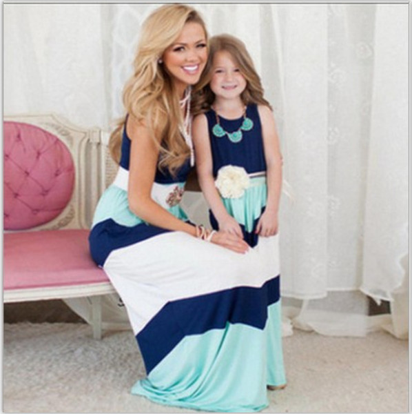 best selling Family matching outfits 2017 new kids clothing stripe sleeveless casual mother daughter dresses clothes mommy and me