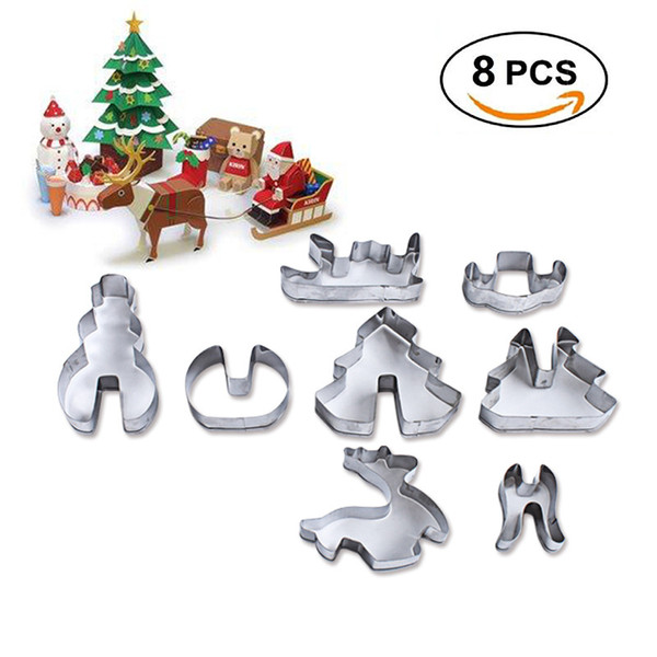 8pcs/set 3D Cookie Cutter Set Christmas Supplies Cake Baking Tools Stainless Steel Biscuit Mould Fondant Cookie Mold Cutters