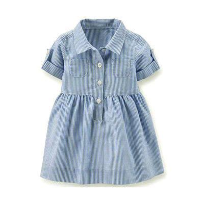 2018 estate bambini bambini neonate vestito a righe blu in cotone manica corta casual abito girevole