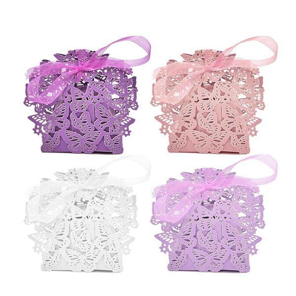 100 teile / satz Romantische Hochzeit bevorzugt Decor Schmetterling DIY Süßigkeiten Cookie Geschenkboxen Hochzeit Pralinenschachtel mit Band 4 Farben