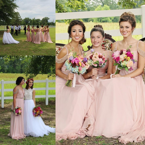 Pink Chiffon Long Bridesmaid Dresses Sparkly Beaded Straps Maid Of Honor Gowns Backless Wedding Guest Formal Party Dresses Cheap