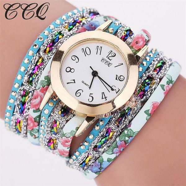 CCQ High Quality Beautiful Fashion Casual Bracelet Watch Ladies Watch Rhinestone Quartz Wrist Bracelet For Women Clock B13