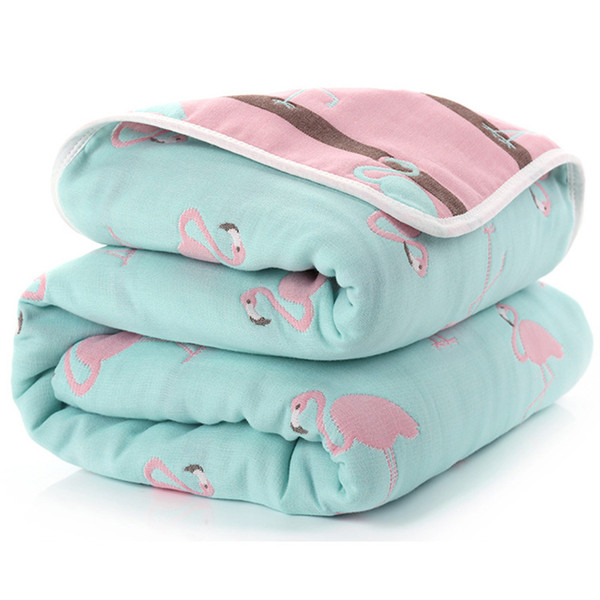 Baby Blanket 110 CM Muslin Cotton Six Layers Thick Newborn Swaddling Autumn Baby Swaddle Bedding Flamingo Receiving blanket