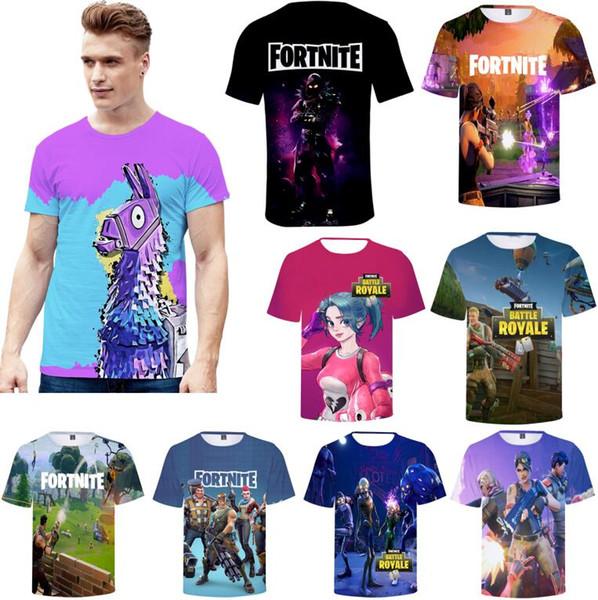 Wholesale 3D printed Fashion Game Fortnite T-shirts New Men Women Fancy Print T shirt Short Sleeves Summer Tops Tee Free Shipping