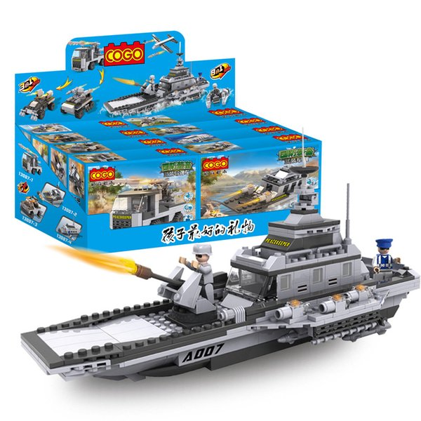Hot Blast Toys for Children Early Teaching Blocks Military Aircraft Carrier Model Boy Toys