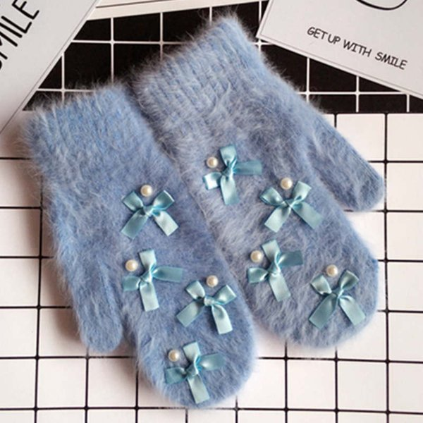 Women winter glove lovely bowknot full finger mittens cute girl's elegant wrist luvas Guanti donna handschuenen femme wholesale