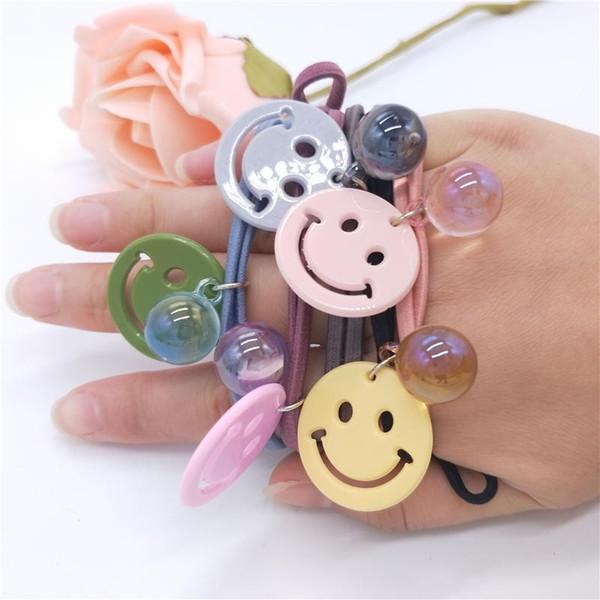 Elastic Rubber Rope Hair Bands Girls Floral Ponytail Holder Headband Cartoon Smile Face Design Handmade Elastic Hair Accessories