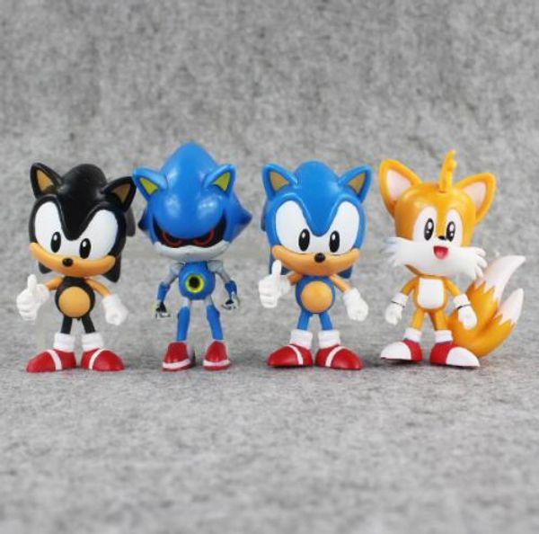 4 Unids / set 7 ~ 8 cm The Hedgehog Sonic Tails Shadow PVC Figura de Acción de Juguete Sonic Figuras Muñecas Juguetes Grandes regalos