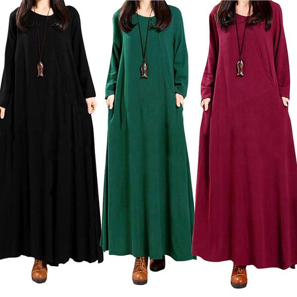 El nuevo vestido de estilo étnico para mujer de moda más el color de la dama retro largo hasta el suelo suelta manga larga casual falda llena