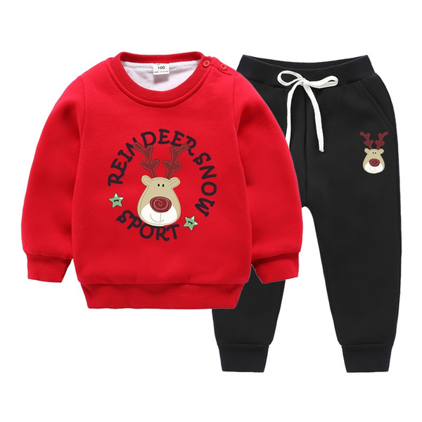 2018 New Cartoon Christmas Deer Boys and Girls Winter Sports Warm Suit 3-4-5-6-7-8 Years Old Thick Double Velvet Two-Piece