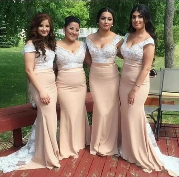 2018 Peach Bridesmaid Dresses Off The Shoulder Cap Sleeves Mermaid White Lace Applique Bodice Long Custom Wedding Guest Maid Of Honor Gowns