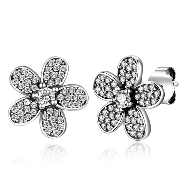 925 Oxidized Sterling Silver Crystal CZ Flower 13mm Post Stud Earrings 1Pair