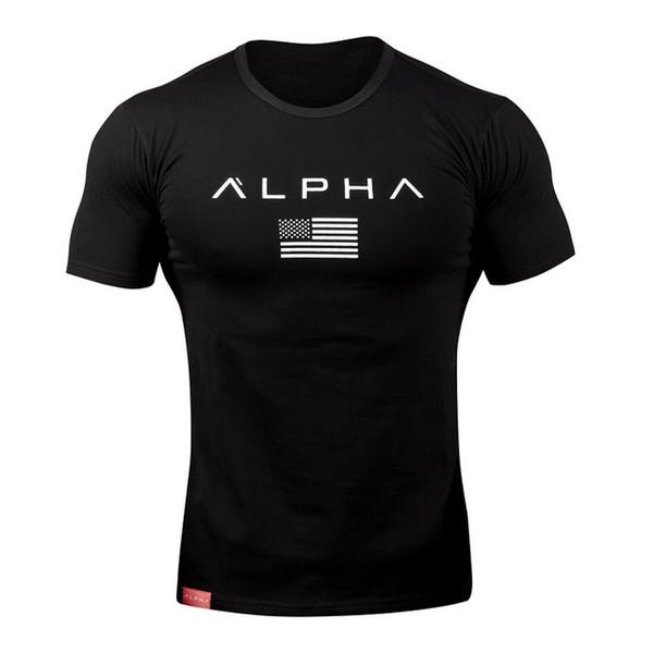 Bandera americana Músculo Algodón Camisa de deporte Camiseta deportiva Hombre de manga corta para correr Hombres Entrenamiento de entrenamiento Camisetas Fitness Top