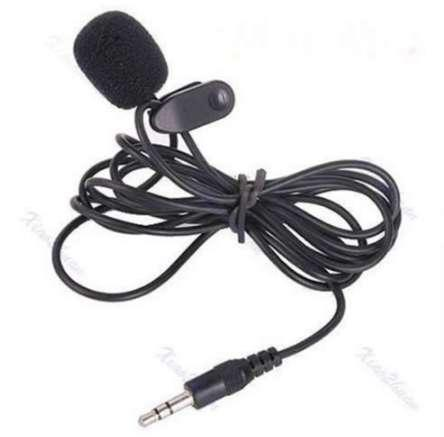3.5mm Mini Studio Speech Mic Microphone Clip On Lapel for PC Notebook 1.5M