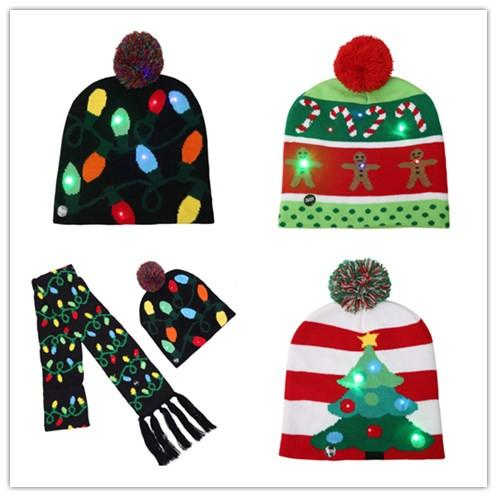 best selling new LED Christmas knitted Hat Scarf kid Adults Santa Claus Snowman Reindeer Elk Festivals Hats Xmas Party Gifts Cap CX001