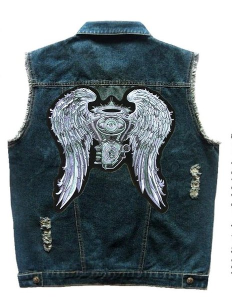 Men's Single Breasted Motorcycle Biker Denim Vest With Badge Shirt Collar Hole Ripped Engine wings Embroidered Big Patch