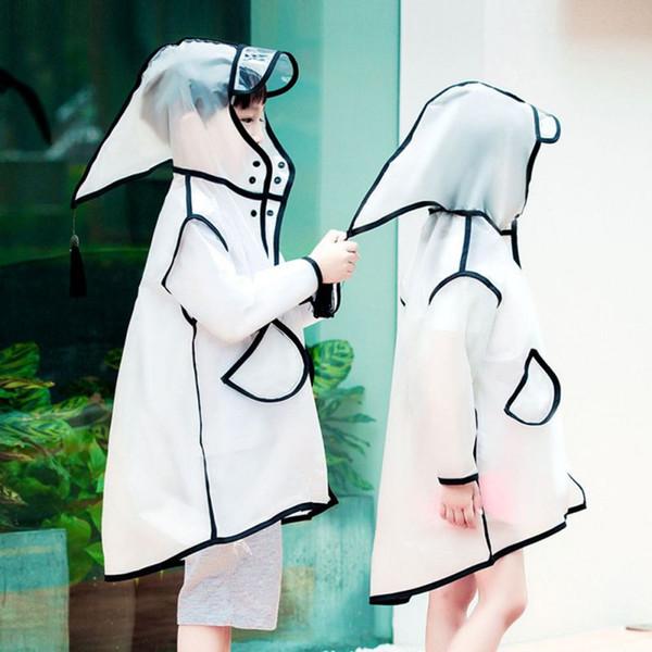 best selling Semi Transparent Summer Raincoats Cute Waterproof Children Rain Jacket with Witch Cap and Tassel Outside Rain Gear Supplie