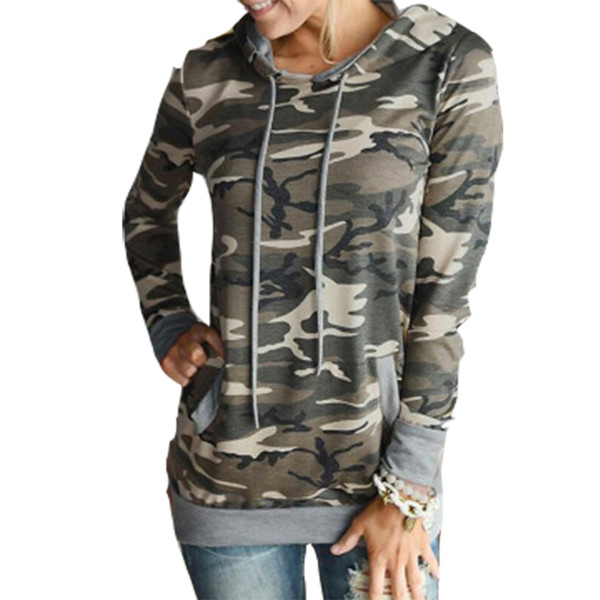 2018 Women Hoodies Camouflage Sweatshirts Autumn Hooded Shirts Casual Long Sleeve Tracksuit Printed Floral Hoody Pullovers